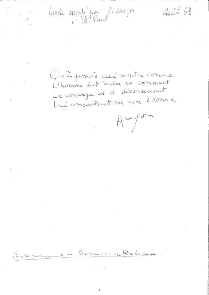 Lettre d'Aragon