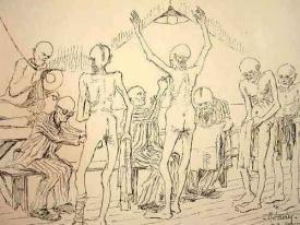 """Dessin d'Auguste Favier : """"Des visites journalières étaient faites entre déportés pour éviter les poux et épidémies"""""""