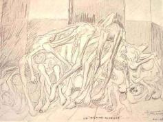 """Dessin d'Auguste Favier. """"Petit bâtiment où les blocks du petit camp (Buchenwald) apportaient leurs morts, local bien insuffisant vu le nombre de ces derniers"""""""