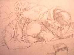 """Dessin N°57 de Boris Taslitzky """"Camarades fatigués attendant l'appel"""""""
