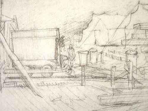 """Dessin N°83 de Boris Taslitzky. """" Chantier dans le petit camp, près des tentes """""""
