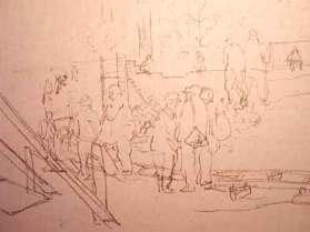 """Dessin N°85 de Boris Taslitzky : """"Chantier dans le petit camp. Construction des nouveaux blocks"""""""