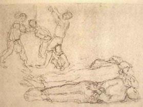 """Dessin de Léon Delarbre : """"La dépendaison. Cinquante cadavres et plus s'alignaient parfois ainsi. Dora. Mars 1945"""""""
