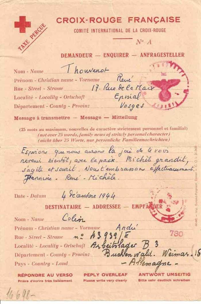 Du courrier et des colis ont pu, un moment, parvenir à Buchenwald par l'intermédiaire de la Croix Rouge. Après avoir subi de larges prélèvements par les SS, les colis étaient remis aux Déportés, qui, le plus souvent, se partageaient le contenu restant.