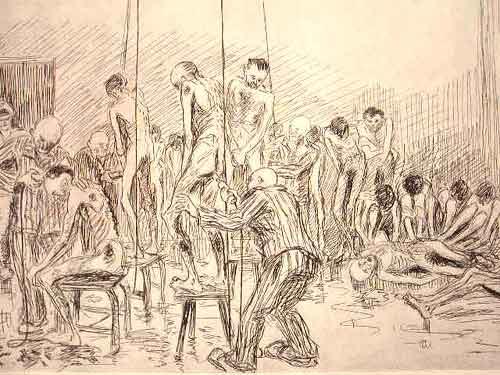 """Dessin d'Auguste Favier : """"La tonte de tout le système capillaire au moyen de tondeuses électriques"""""""