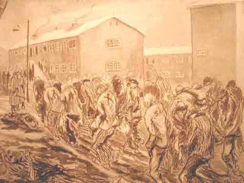 """Dessin d'Auguste Favier. """"Arrivée d'un kommando replié sur Buchenwald. Des centaines de malheureux mouraient sur les wagons découverts par -20° et plus de froid, et ensuite sur le chemin de la gare au camp"""""""