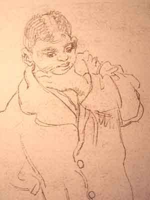 """Dessin N°26 de Boris Taslitzky : """"Petit Gitan de 14 ans"""""""