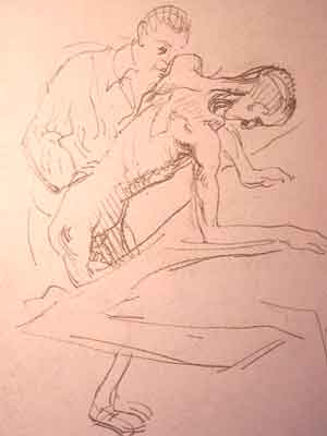 "Dessin N°96 de Boris Taslitzky : ""Pansement""."