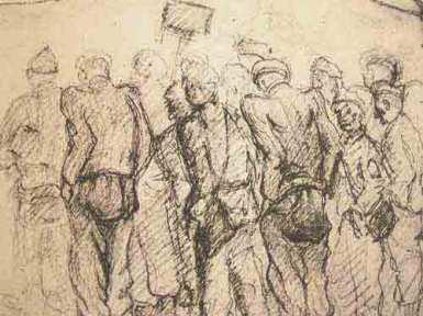 """Dessin de Léon Delarbre : """"Sur la place d'appel, par un vent glacial. Dora. Janvier 1945"""""""