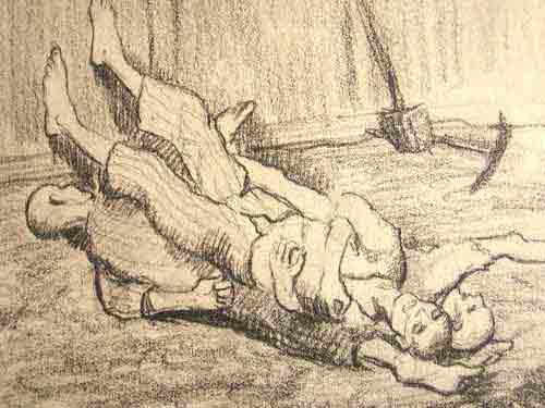 """Dessin de Léon Delarbre : """"Au petit jour, devant le block 131: les morts de la nuit. Dora. Mars 1945"""""""