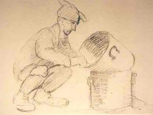 Dessin de Léon Delarbre. Koula resquilleur. Buchenwald, Juillet 1944