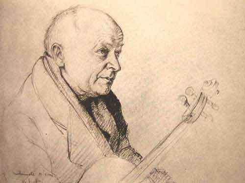 Dessin de Léon Delarbre : Portrait au crayon de Maurice Hewitt, Violon du quator Capet