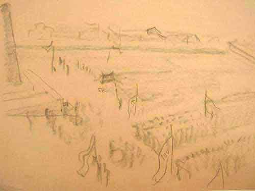 """Dessin N°83 de Paul Goyard : """"Cérémonie de commémoration des prisonniers pour les morts de Buchenwald, de Dora et des kommandos, le 19 avril 1945"""""""