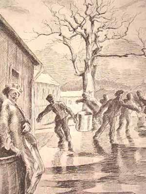 """Dessin de Pierre Mania : """"Corvée de soupe. Chaque block envoyait, aux heures des repas, des hommes qui rapportaient des bidons d'environ 50 litres chacun""""."""