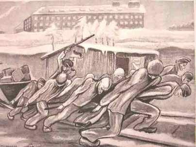 """Dessin de Pierre Mania : """"La fameuse corvée des wagonnets à la carrière. Le nombre des Déportés morts dans ces corvées est formidable"""""""
