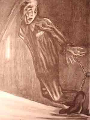 """Dessin de Pierre Mania : """"Supplice d'un Français absent à l'heure de l'appel, le pauvre s'étant endormi de fatigue; ce jour-là, nous restâmes 5h30 sur la place d'appel. Notre pauvre camarade fut 4 jours, attaché jour et nuit à la porte de la tour, sans nourriture""""."""