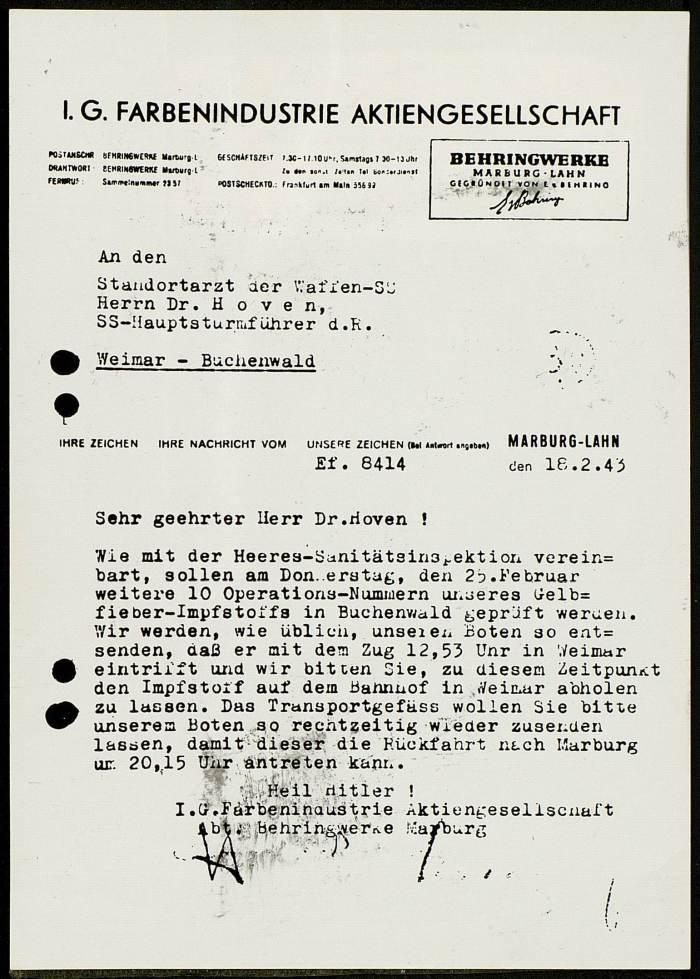 •Photographie d'un document tapuscrit en allemand, de la Farbenindustrie au Dr. HOVEN, le 18 février 1943 © AFBDK