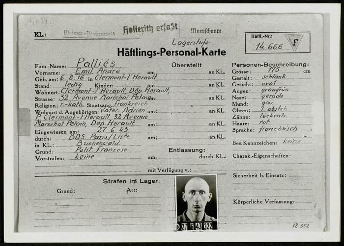 Photographie de la Häftlings-Personal-Karte d'Emil Palliés (KLB 14666),