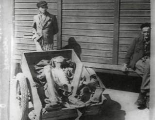 Photographie en petit format de cadavres dans une charrette l © AFBDK
