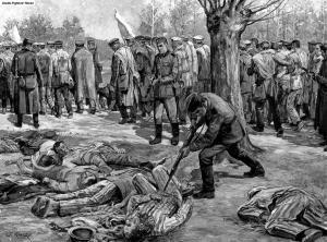 CNRD_Auschwitz_evcuation_peinture_ap-1945_coll-MCGhetto