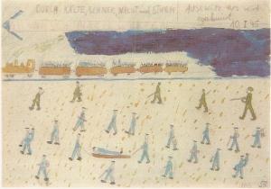 Les marches de la mort, dessin de Thomas Geve