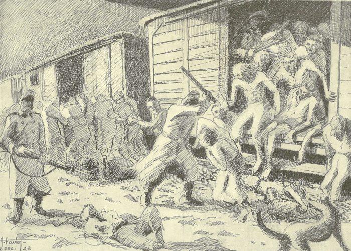 """Auguste Favier : L'arrivée au camp. Des wagons, les déportés débarquent les uns sur les autres, presqu'à moiti"""" fous, hagards, poursuivis par leurs bourreaux et les chiens, jusqu'au bâtiment des douches et de la désinfection."""