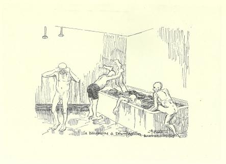 Auguste Favier : À l'arrivée, tous les déportés passaient à la désinfection, grand bassin jusqu'à 3 000 hommes plongeaient dans le même liquide