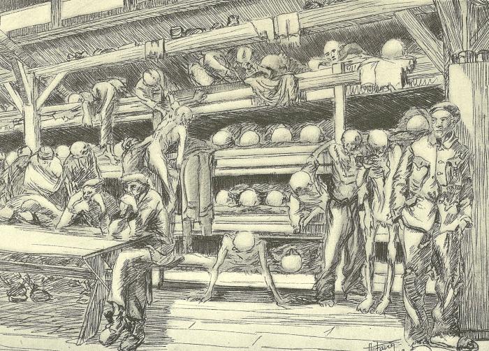 Auguste Favier : Block en bois dans le petit camp. De 1 000 à 1 800 internés vivaient dans une superficie de 25 m. sur 8 m.